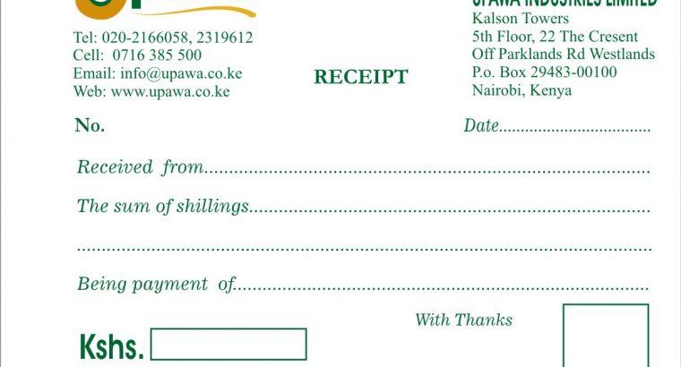 Customised Receipt books Printing